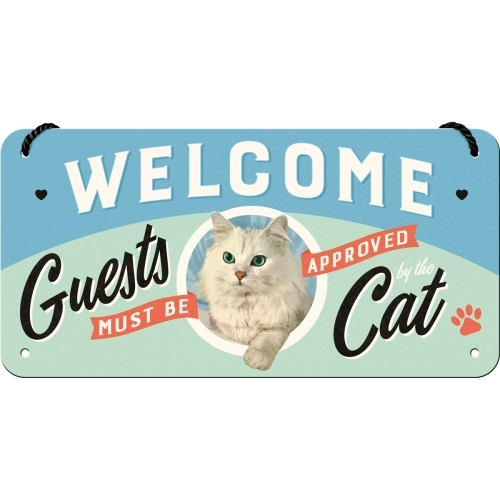 Blechschild Welcome Cat